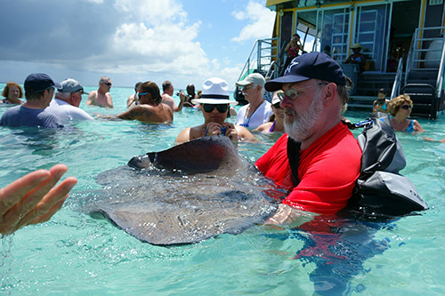 I used the OverBoard Waterproof Pro-Sport Roll-Top SLR Camera Bag on our excursion to the stingray city in Grand Cayman and it worked perfectly. From Royal Caribbean's Navigator of the Seas on our Caribbean Cruise vacation