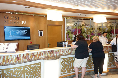 If you have any problems during your cruise - lost Sea Pass, billing issues, or any of a multitude of other problems - the good people in Guest Services will help you out on Royal Caribbean's Navigator of the Seas on our Caribbean Cruise vacation
